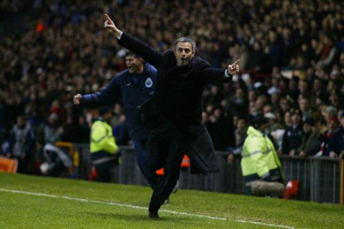 Jose Mourinho celebrates Costinha's goal at Old Trafford. (Picture Credits: The Times)