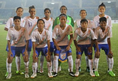India's Starting XI against Myanmar during their AFC Women's Olympic Qualifier (Image: AIFF Media)