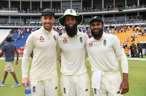 England spin trio (from L to R) - Jack Leach, Moeen Ali and Adil Rashid