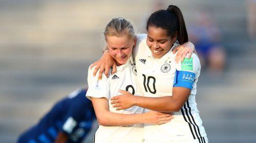 German's Laura Donhauser no 2 and Ivana Fuso no 10 in a jubilant mood (Image Courtesy: FIFA)