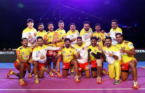 Gujarat Fortune Giants celebrate their comfortable win over Puneri Paltan
