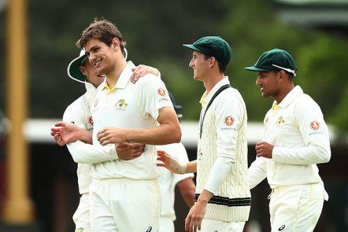 Hardie celebrates with his teammates