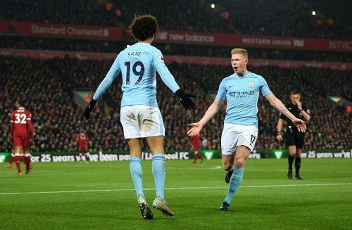 Leroy Sane and de Bruyne celebrate during Manchester City's Premier League winning season last term