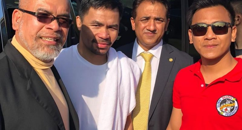 UNESCO TSG members with boxer Manny Pacquiao in Loss Angeles, USA