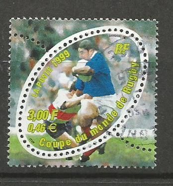 Oval Shaped stamp issued by France on 4th Rugby World Cup