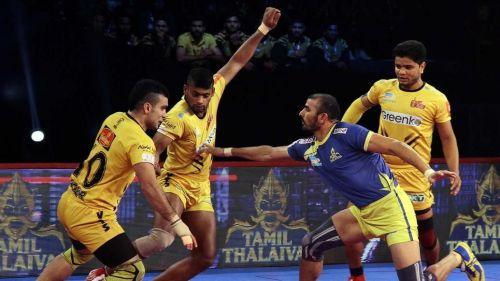 Ajay Thakur scored 16 raid points tonight for Tamil Thalaivas