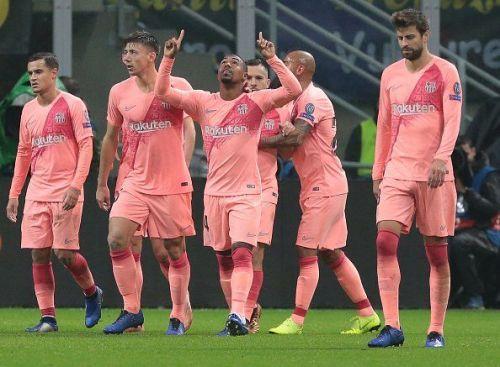 Malcom celebrates his 84th-minute goal against Inter Milan
