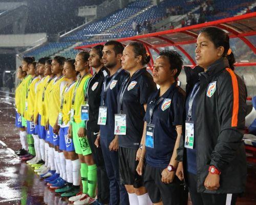 Maymol Rocky (right), the Indian national women's football team coach
