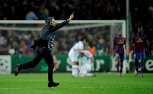 Mourinho's iconic celebration after his Inter side beat Barcelona in 2010