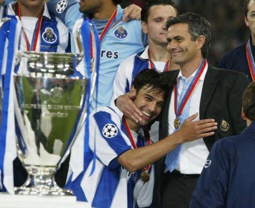 Jose Mourinho celebrates his first Champions League Victory.