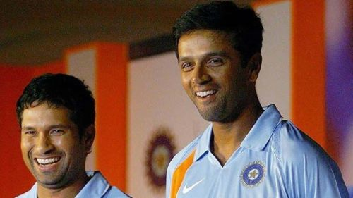 Image result for sachin and dravid smile