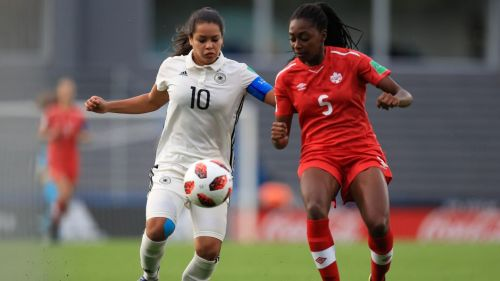 From L-R: Germany's Ivana Fuso and Canada's Maya Antoine in action (Image Courtesy: FIFA)