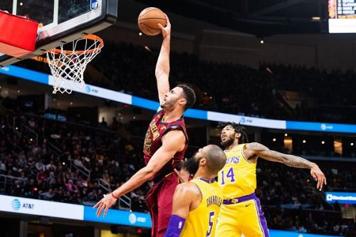 Larry Nance Jr. against his former team