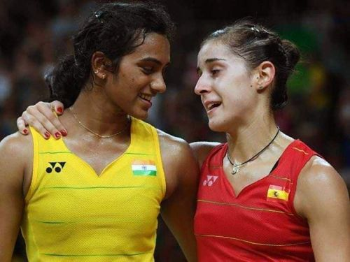 PV Sindhu (left) and Carolina Marin will clash in the opening tie