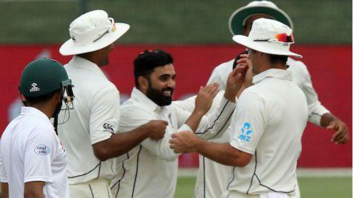 Ajaz Patel celebrates a New Zealand wicket