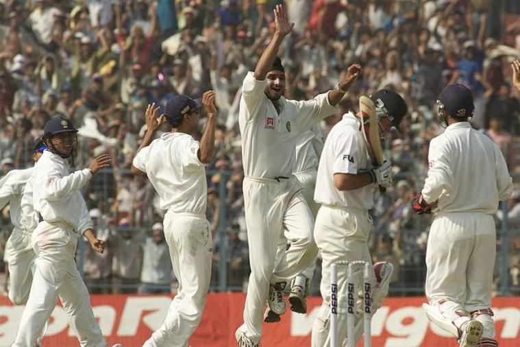 A young Harbhajan Singh celebrates a wicket: 2001
