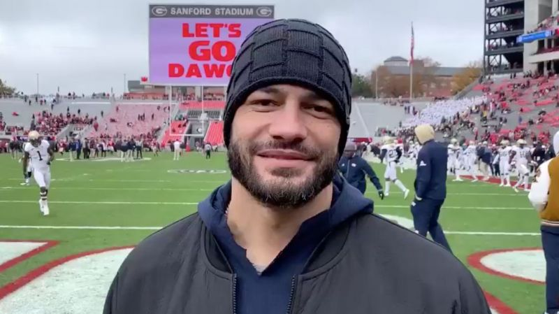 Roman Reigns supports the Georgia Tech Yellow Jackets in their final game of the season