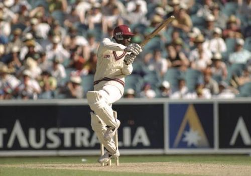 Carl Hooper of the West Indies in action b