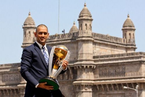 MS Dhoni with 2011 ICC World Cup