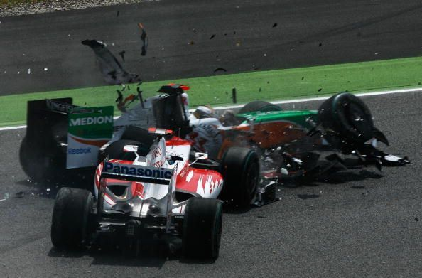 Adrian Sutil and Jarno Trulli tangled earlier in the season in Spain.