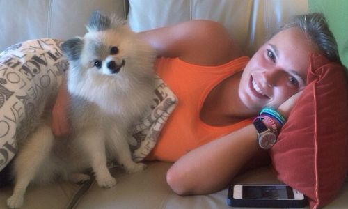 Caroline Wozniacki with her pet Pomeranian Bruno