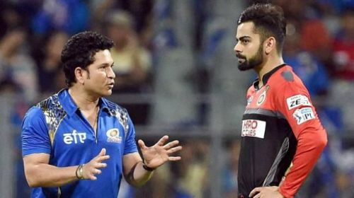 Sachin Tendulkar in conversation with current Indian skipper Virat Kohli
