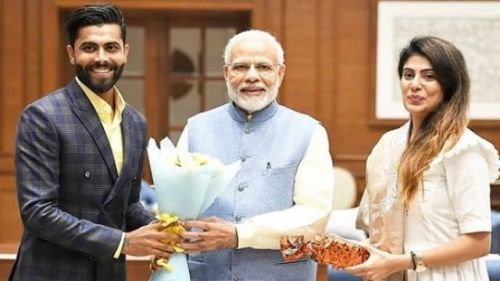 Jadeja and his wife at PMO office in New Delhi