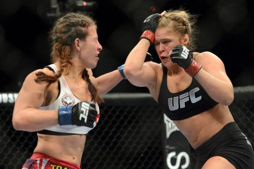 Miesha Tate during her fight against Ronda Rousey at UFC 168