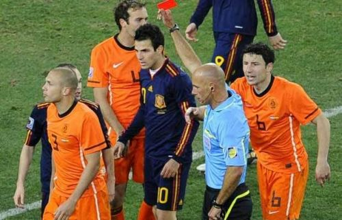 Johnny Heitinga saw red as Spain won the 2010 World Cup in Extra Time