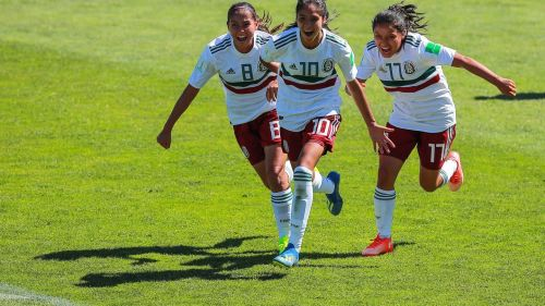From left to right: Nicole Pérez, Alison González and Natalia Mauleón from Mexico jubilant after scoring the equalizer (Image Courtesy: FIFA)