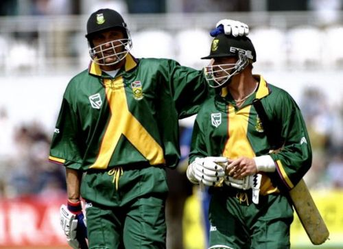 Allan Donald and Lance Klusener of South Africa who choked in the semis against Australia
