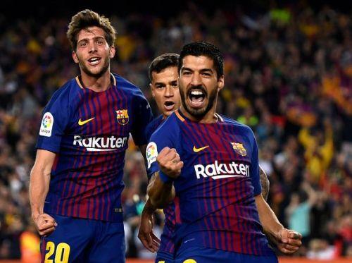 Barcelona superstars - Sergi Roberto, Philippe Coutinho, and Luis Suarez