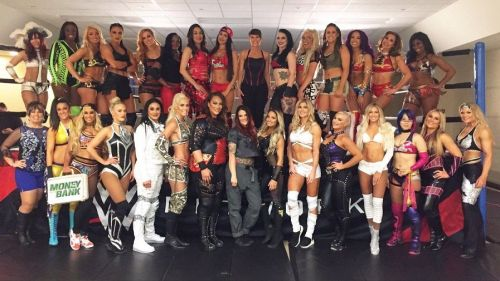 The women of the WWE, at the first ever Women's Royal Rumble in 2018.