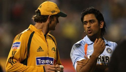 M.S.Dhoni with Adam Gilchrist