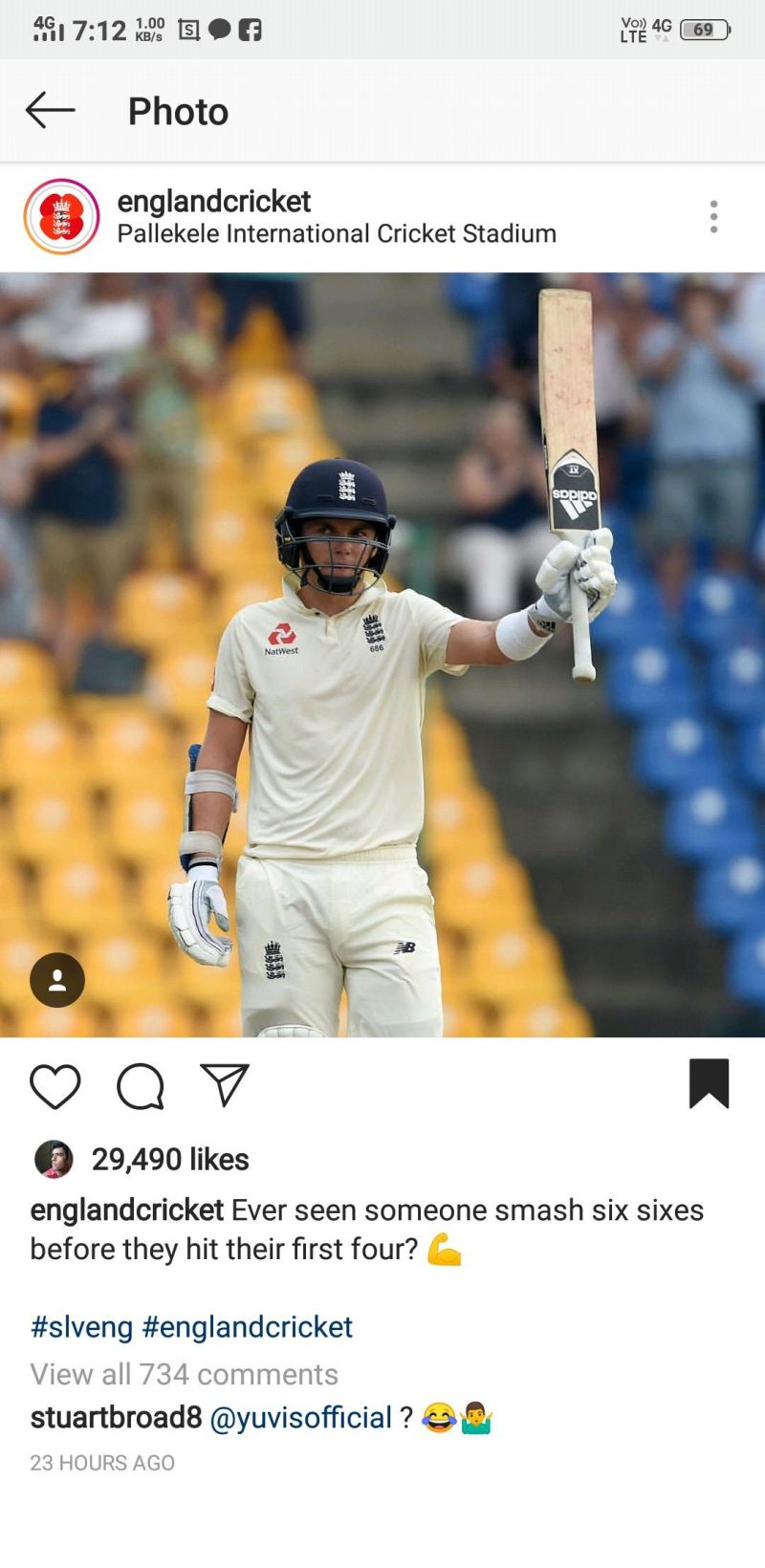 This saucy comment by Stuart Broad has received over 5.1k likes and 600+ replies till now.