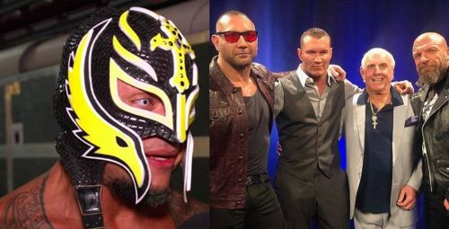 Rey Mysterio (left) and Randy Orton (third from left) are set for a long-term rivalry, and we examine how Dave Batista (second from left) fits into this WrestleMania 35 feud
