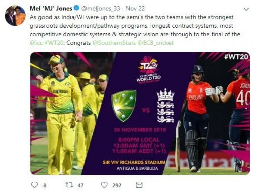 Mel Jones' tweet after Australia and England reach to the final of WWT20