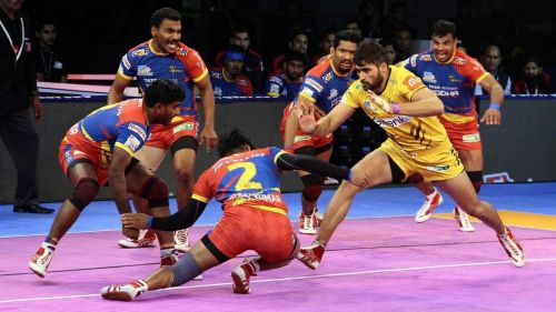 The UP Yoddha team in action. [Picture Courtesy: ProKabaddi.com]