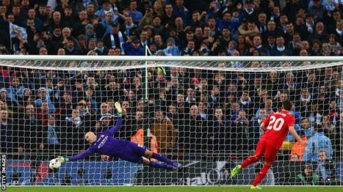 Willy Caballero saves Adam Lallana's penalty in the league cup final Photo Credit: Getty Images
