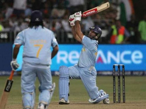Yuvi hits 6 sixers in a single over of Stuart Broad