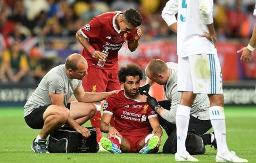 Salah being treated after his injury - UEFA Champions League Final
