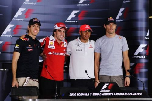 (Left-Right) Vettel, Alonso, Hamilton