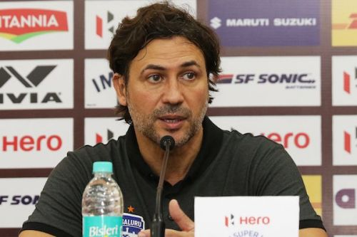 Carles Cuadrat speaks at the post-match press conference [Image: ISL]