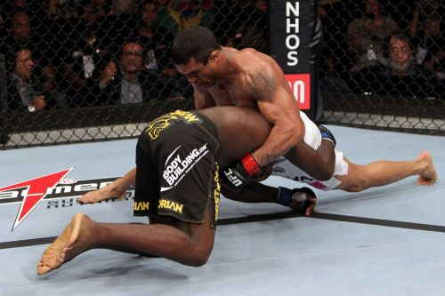 Vitor Belfort secures the match-winning choke on Anthony Johnson