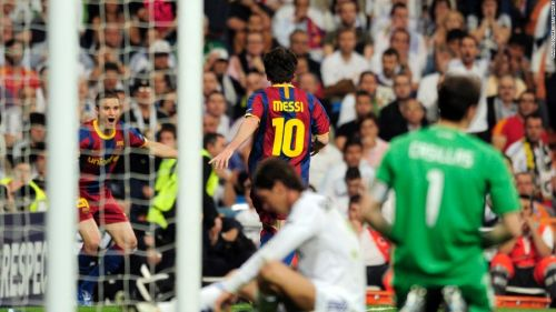 Messi after scoring against Real Madrid in the semis