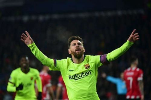 Messi scored the 567th goal for Barcelona against PSV Eindhoven yesterday