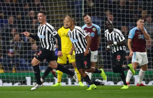 Newcastle United celebrating in a game against Burnley