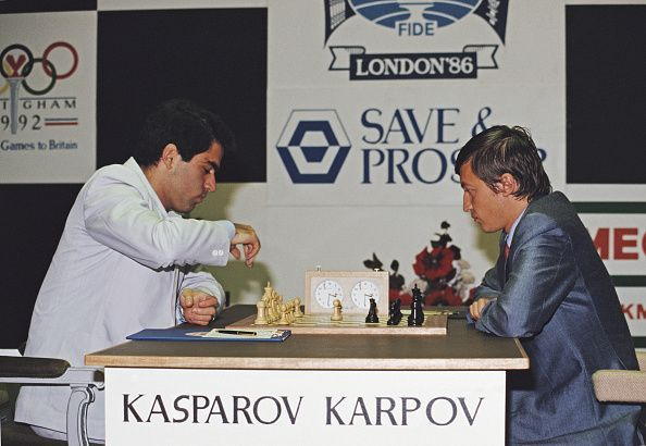 Kasparov (L) & Karpov (R) during one of their many World Chess Championship Matches