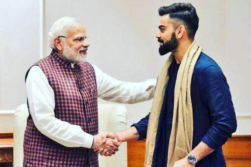 Narendra Modi with Virat Kohli