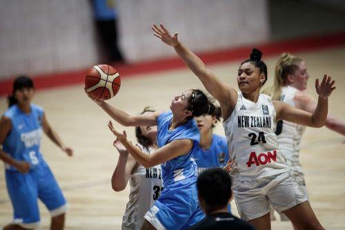 Number 24 Leah Mafua of New Zealand scored a double-double - 13 pts, 10 rebs (Image Courtesy: FIBA)